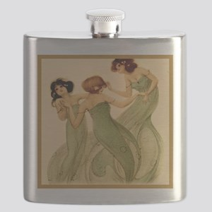 Vintage French Art Deco Dancing Girls Flask