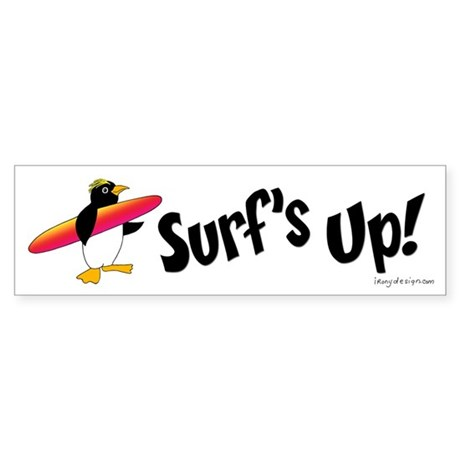Surf's Up! Penguin Sticker (Bumper)