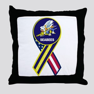 seabees_navy_patch Throw Pillow