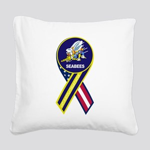 seabees_navy_patch Square Canvas Pillow