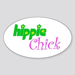 Hippie Chick Oval Sticker