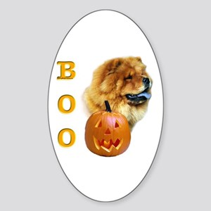 Chow Chow Boo Oval Sticker