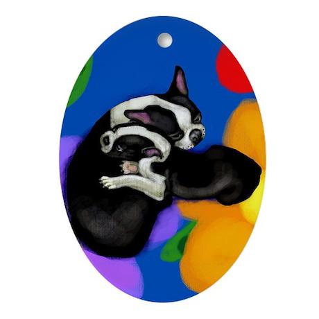 Boston Terrier & Puppy Ornament (Oval)