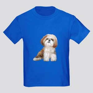 Shih Tzu (red-Wte) Kids Dark T-Shirt