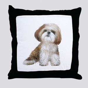 Shih Tzu (red-Wte) Throw Pillow