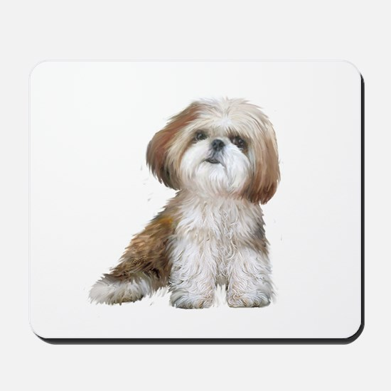Shih Tzu (red-Wte) Mousepad