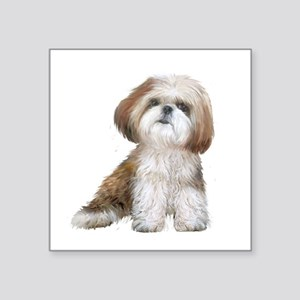 "Shih Tzu (red-Wte) Square Sticker 3"" x 3"""