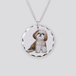 Shih Tzu (red-Wte) Necklace Circle Charm