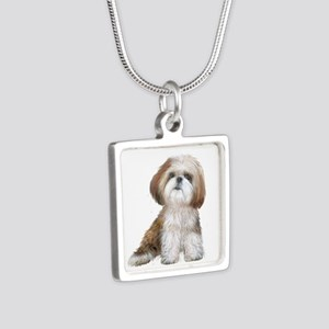 Shih Tzu (red-Wte) Silver Square Necklace