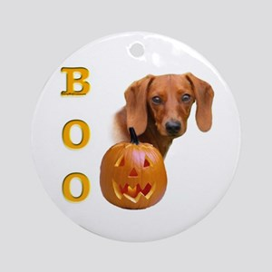 Smooth Dachshund Boo Ornament (Round)