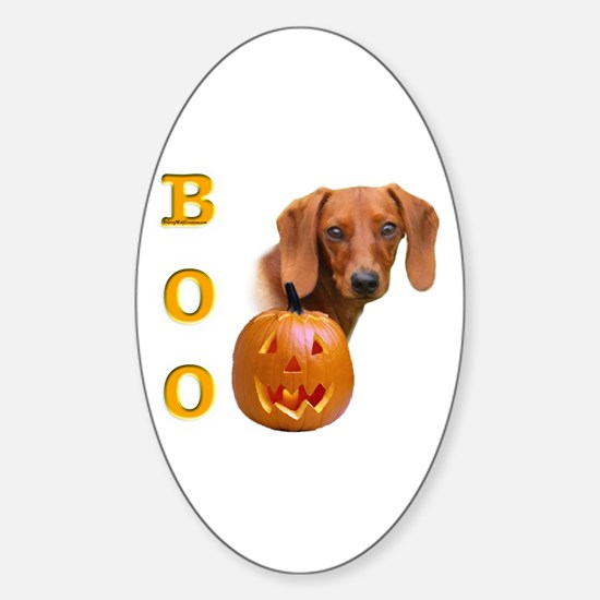 Smooth Dachshund Boo Oval Decal