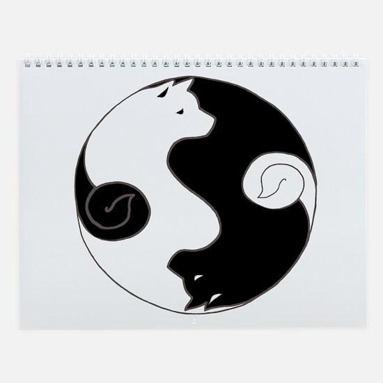 Ying Yang Akita Wall Calendar