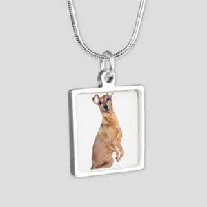 Miniature Pinscher (red) Silver Square Necklace