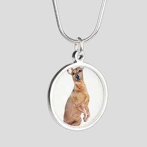 Miniature Pinscher (red) Silver Round Necklace