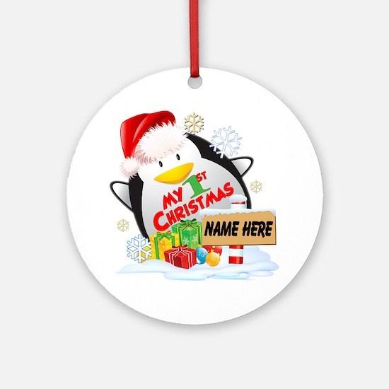 Penguin 1st Christmas Custom Ornament (round)
