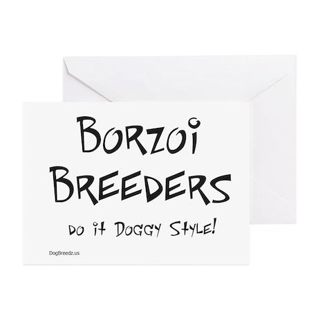 Borzoi Doggy Style Greeting Cards (Pk of 10)