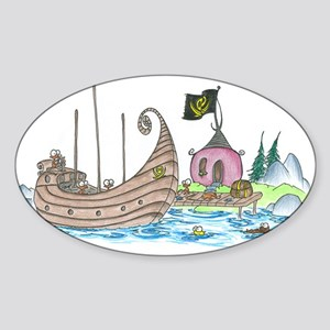 monkey pirate ship Oval Sticker