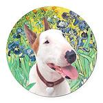 Bull Terrier (B) - Irises Round Car Magnet