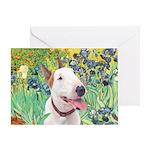 Bull Terrier (B) - Irises Greeting Card