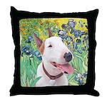 Bull Terrier (B) - Irises Throw Pillow