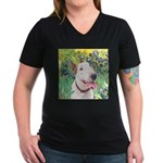 Bull Terrier (B) - Iri Women's V-Neck Dark T-Shirt