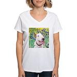 Bull Terrier (B) - Irises Women's V-Neck T-Shirt