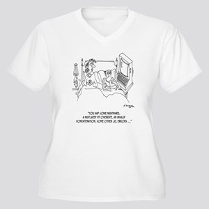Computer Cartoon  Women's Plus Size V-Neck T-Shirt