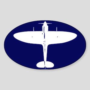 White Spitfire on Navy background Oval Sticker
