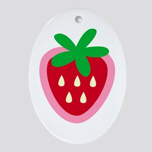 Strawberry Solitaire Oval Ornament