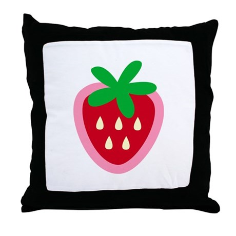 Strawberry Solitaire Throw Pillow