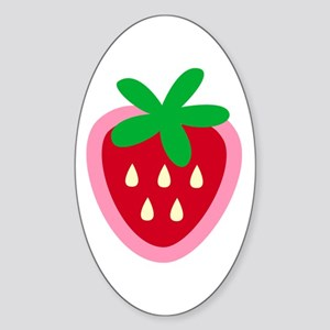Strawberry Solitaire Oval Sticker