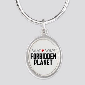 Live Love Forbidden Planet Silver Oval Necklace