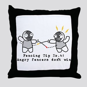 Angry Fencers Throw Pillow