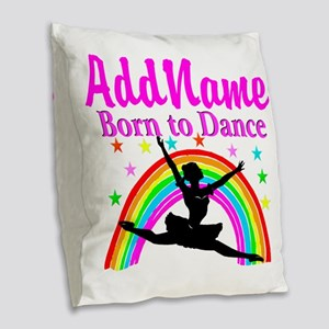 BORN DANCING Burlap Throw Pillow