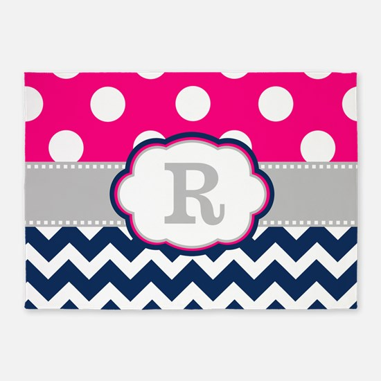 Pink Navy Gray Dots Chevron Monogram 5'x7'Area Rug