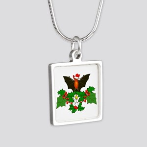 Christmas Holly With Bat Silver Square Necklace