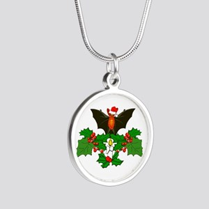 Christmas Holly With Bat Silver Round Necklace