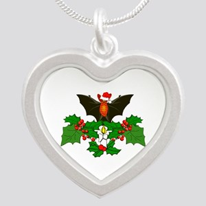 Christmas Holly With Bat Silver Heart Necklace