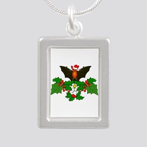Christmas Holly With Bat Silver Portrait Necklace