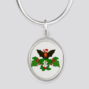 Christmas Holly With Bat Silver Oval Necklace