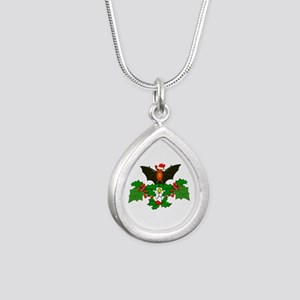 Christmas Holly With Bat Silver Teardrop Necklace
