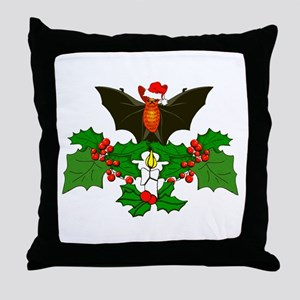 Christmas Holly With Bat Throw Pillow