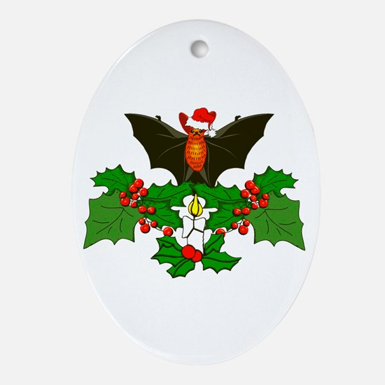 Christmas Holly With Bat Ornament (Oval)
