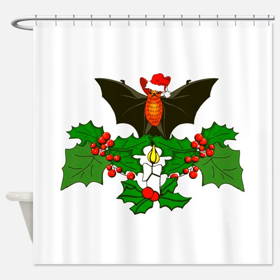 Christmas Holly With Bat Shower Curtain