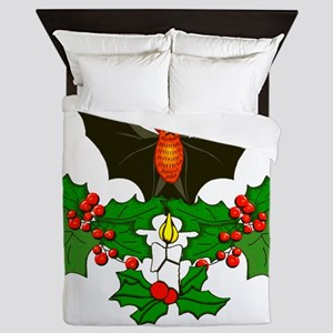 Christmas Holly With Bat Queen Duvet