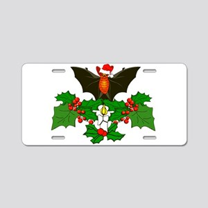 Christmas Holly With Bat Aluminum License Plate