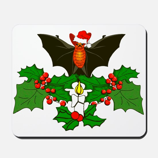 Christmas Holly With Bat Mousepad