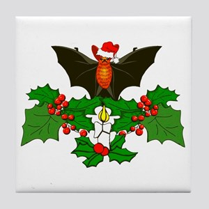 Christmas Holly With Bat Tile Coaster