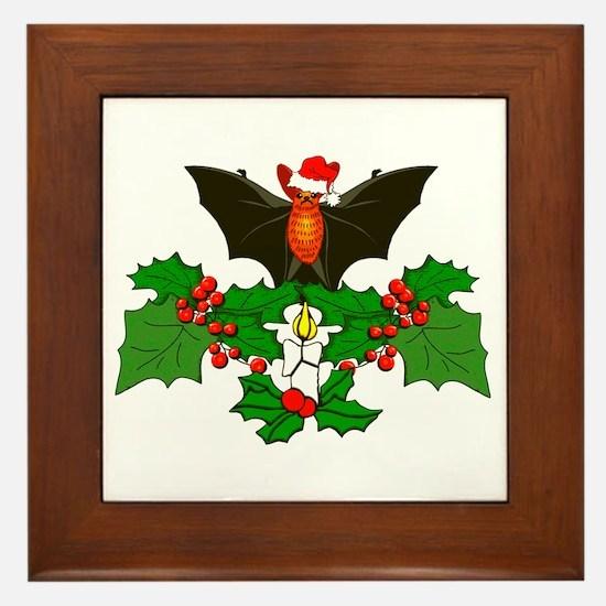 Christmas Holly With Bat Framed Tile
