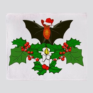 Christmas Holly With Bat Throw Blanket